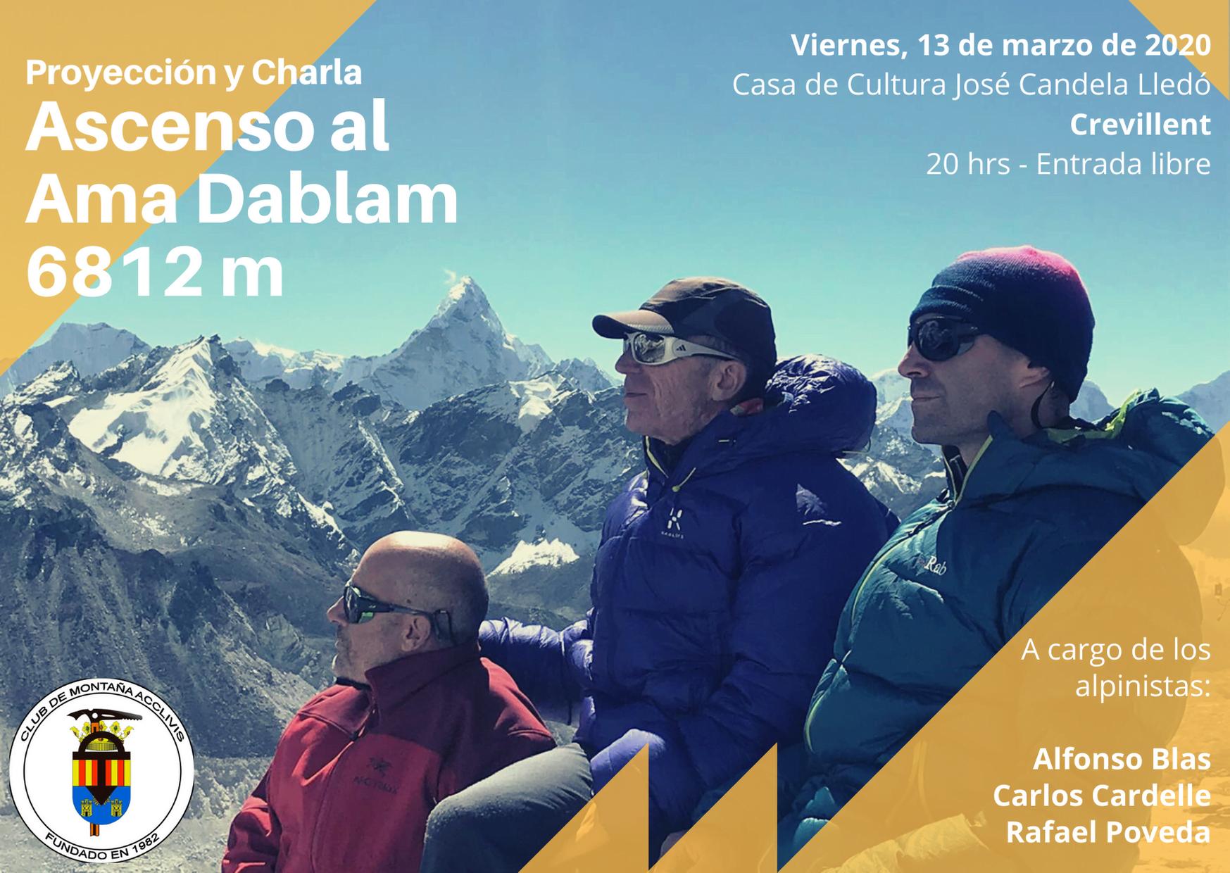13 de marzo. Ascenso al Ama Dablam, 6812 m. Proyección y charla.